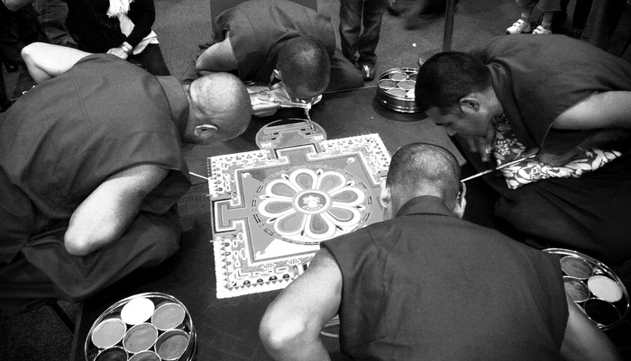 Monks from Tashi Lhunpo create a Vajrasattva sand mandala in Nottingham, UK, in 2008.