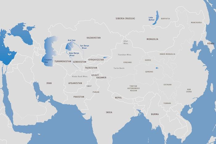 地图一:中亚现代地图。