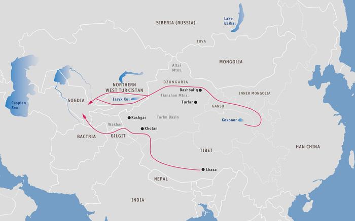 Карта 19: Тибетско-арабские торговые пути