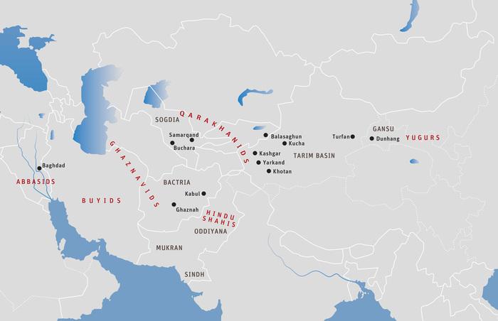 地图二十五:早期喀喇汗和伽色尼帝国:10世纪中叶。