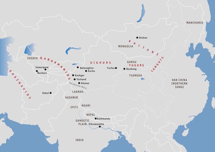 地圖二十六:喀喇汗人入侵于闐時的中亞:大約1000年