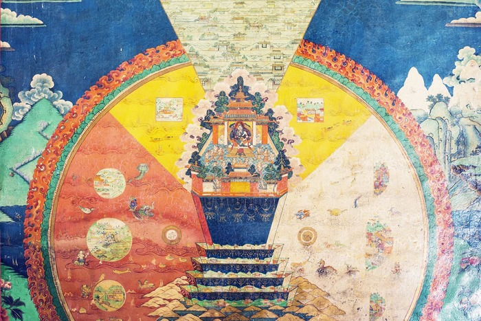A mural painting of the mandala of the universe at Sera Monastery, Tibet, 2015.